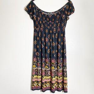 Muse Off The Shoulder Floral Boho 70s Dress